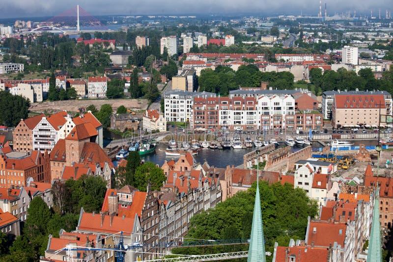 Paysage urbain de Danzig d'en haut photos libres de droits