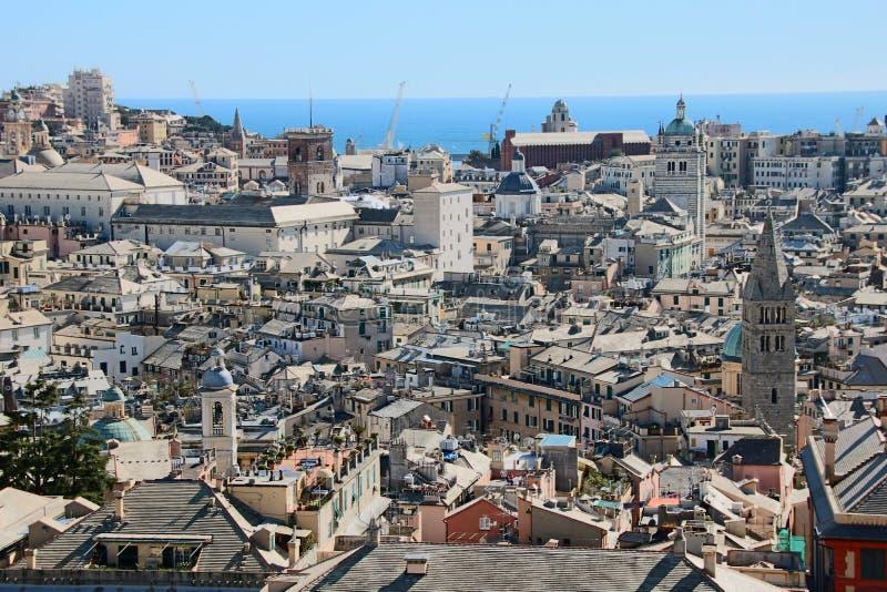 Paysage urbain de Gênes images libres de droits