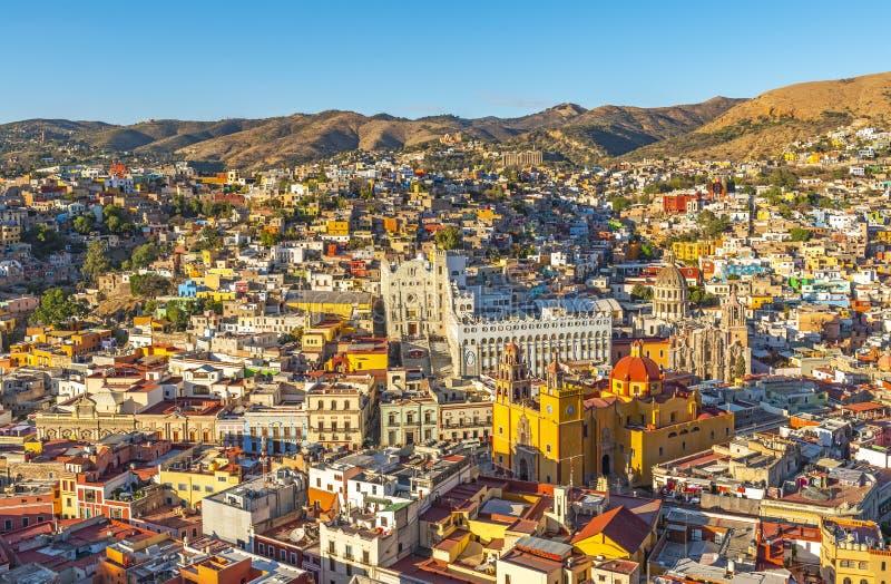 Paysage urbain de Guanajuato au coucher du soleil, Mexique photographie stock libre de droits