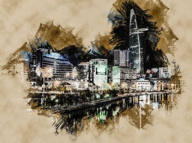 Paysage urbain de Ho Chi Minh la nuit illustration libre de droits