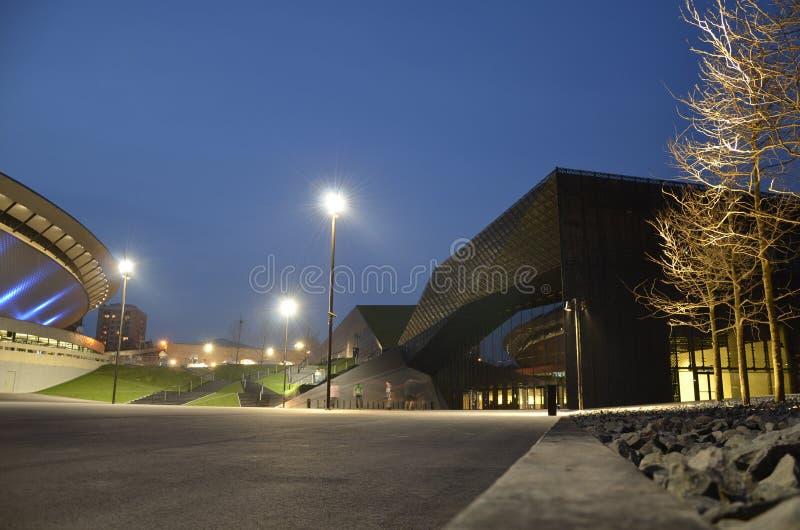 Paysage urbain de Katowice la nuit Région de la Silésie, Pologne photo stock