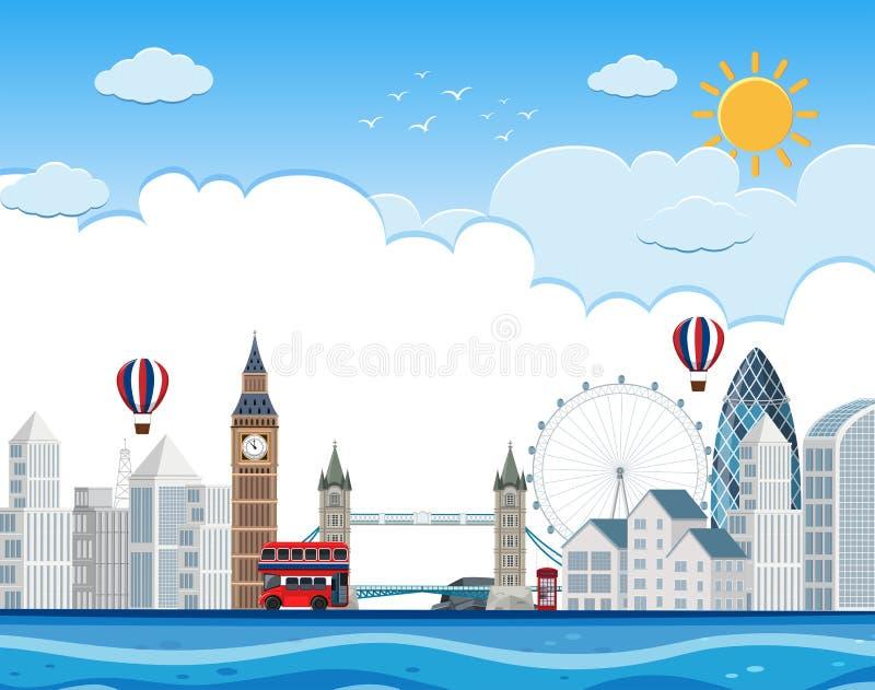 Paysage urbain de Londres sur la rivière illustration de vecteur