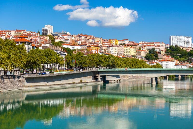 Paysage urbain de Lyon, France image libre de droits