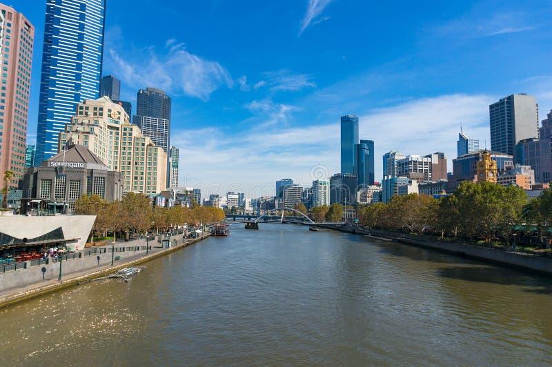 Paysage urbain de Melbourne, paysage urbain le jour ensoleillé photo stock