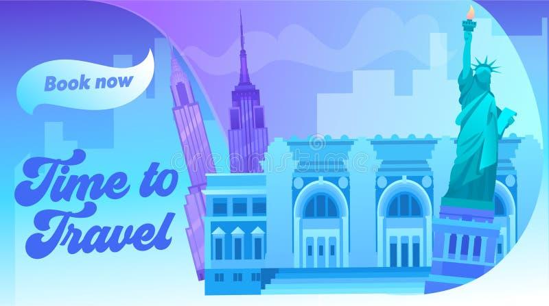 Paysage urbain de New York avec toute l'image de construction c?l?bre de couleur Autour de la banni?re de concept de voyage du mo illustration de vecteur