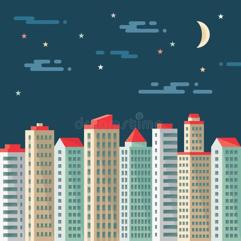 Paysage urbain de nuit - bâtiments abstraits - dirigez l'illustration de concept dans le style plat de conception Illustration pl illustration libre de droits