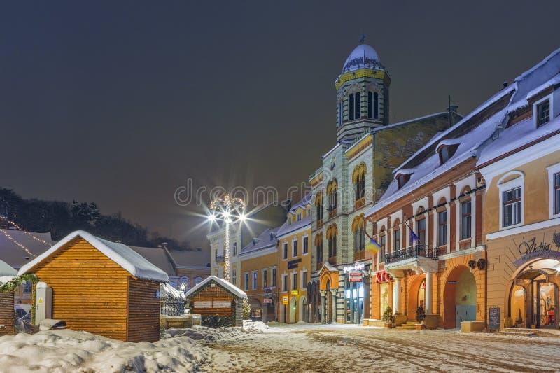 Paysage urbain de nuit de Noël image libre de droits