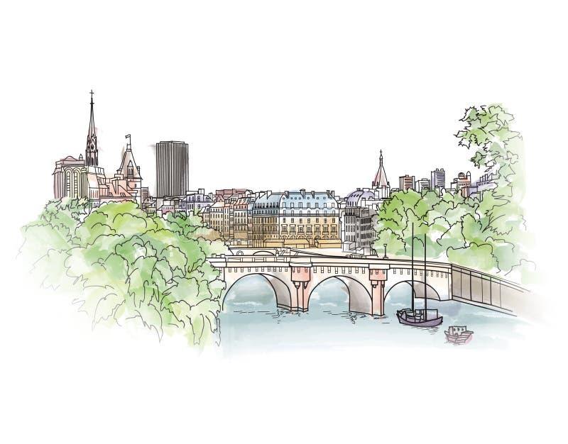 Paysage urbain de Paris avec le remblai de la Seine Vieille vue de ressort de ville Streptocoque illustration libre de droits