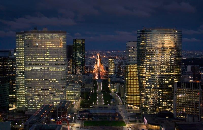 Paysage urbain de Paris la nuit photo stock