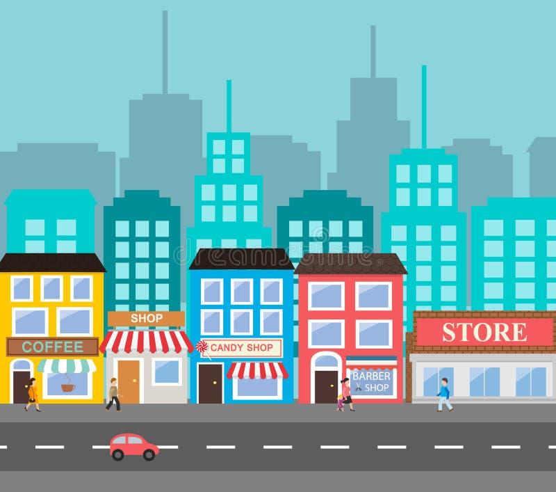 Paysage urbain de petite ville illustration de vecteur