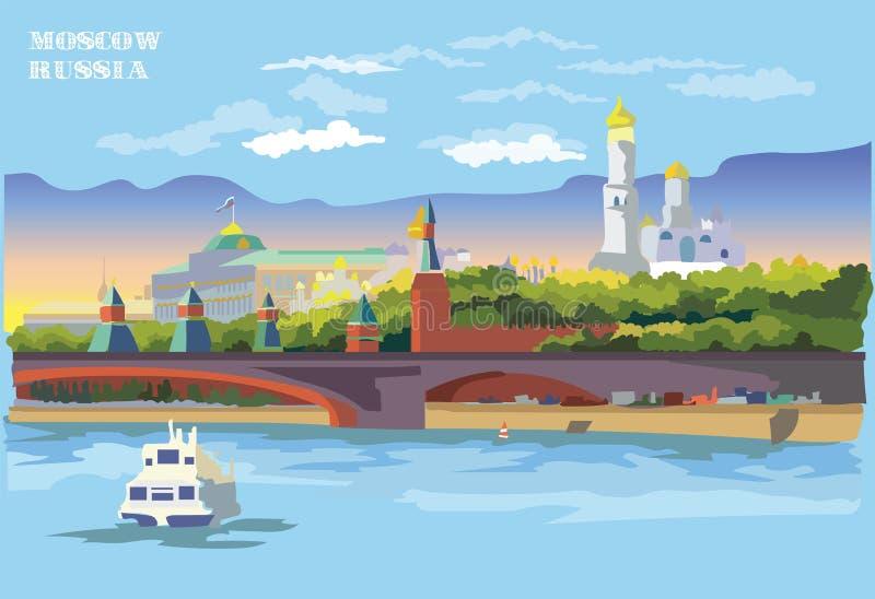 Paysage urbain de remblai des tours et du pont de Kremlin à travers la place rouge de point de repère international de rivière de illustration libre de droits