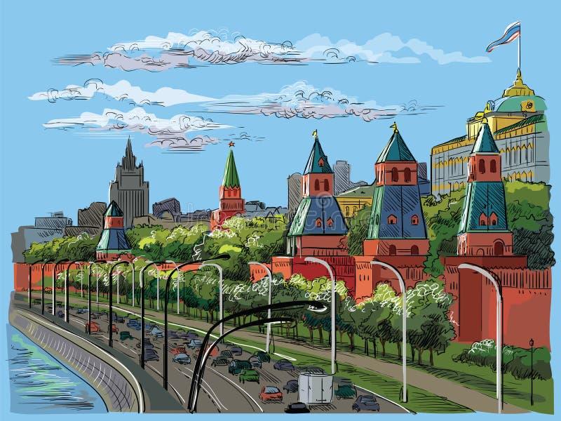 Paysage urbain de remblai de place rouge de tours de Kremlin et de rivière de Moscou, dessin d'isolement coloré de main de vecteu illustration stock