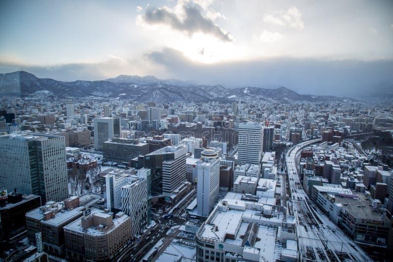Paysage urbain de paysage urbain de Sapporo photos stock