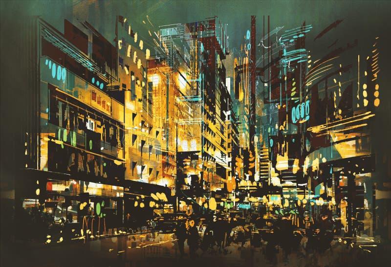 Paysage urbain de scène de nuit illustration de vecteur
