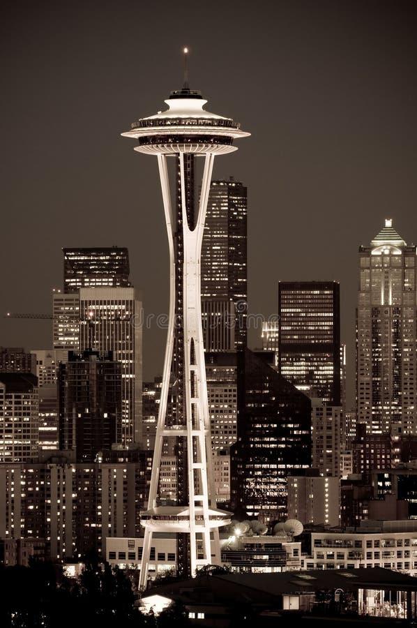 Paysage urbain de Seattle la nuit photo stock