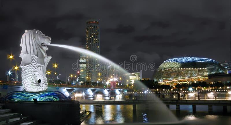 Paysage urbain de Singapour Merlion photo libre de droits