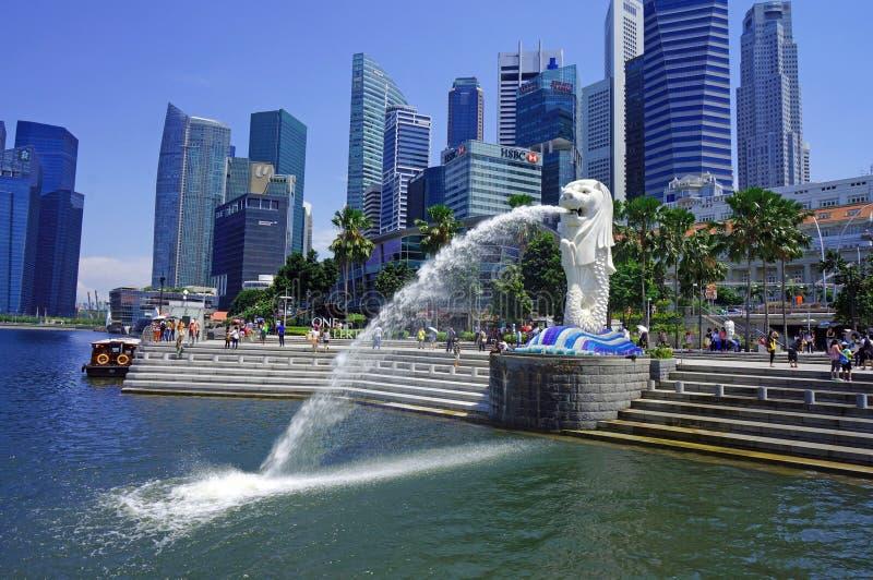 Paysage urbain de Singapour Merlion images libres de droits