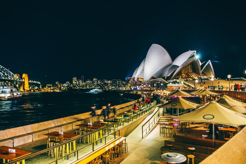 Paysage urbain de Sydney Darling Harbour la nuit, Australie photo libre de droits