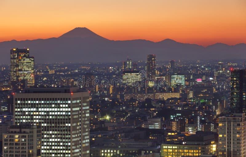 Paysage urbain de Tokyo et montagne Fuji au crépuscule photographie stock libre de droits