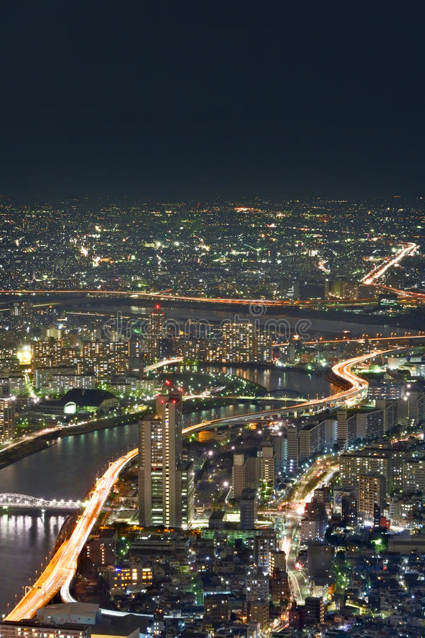 Paysage urbain de Tokyo la nuit photographie stock