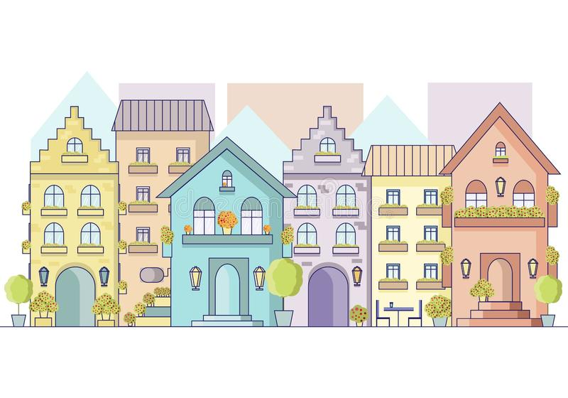 Paysage urbain de vecteur de vieille rue de l'Europe dans le style plat Vue sur des façades des bâtiments de l'Europe illustration libre de droits