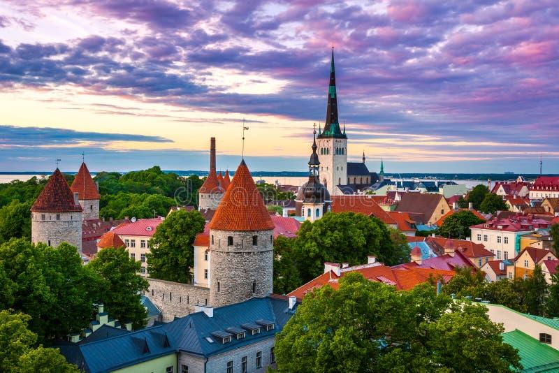 Paysage urbain de vieille ville de Tallinn de ville au crépuscule, Estonie photographie stock libre de droits