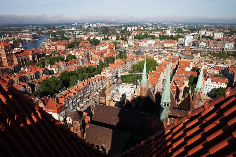 Paysage urbain de ville de Danzig de St Mary Church images libres de droits
