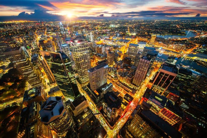 Paysage urbain de ville de Sydney à partir du dessus de toit de la tour image stock