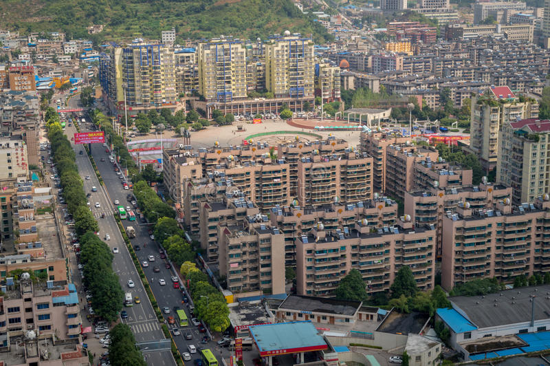 Paysage urbain de Villege de Guiyang, porcelaine 4 photographie stock