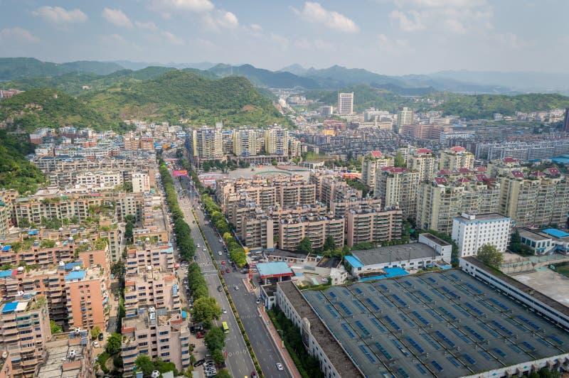 Paysage urbain de Villege de Guiyang, porcelaine 6 images libres de droits