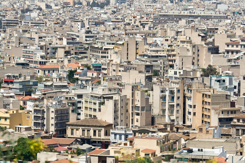 Paysage urbain du boîtier élevé dans le district urbain image libre de droits