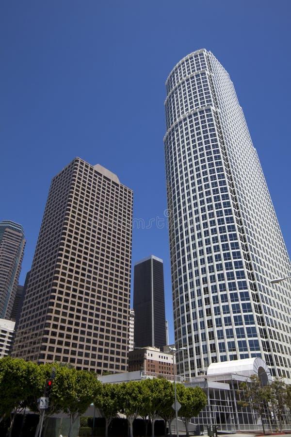 Paysage urbain du centre de constructions de Los Angeles images libres de droits