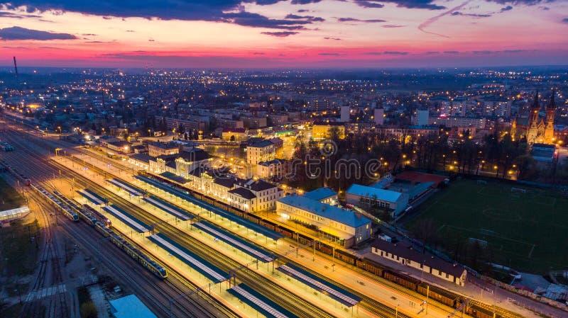 Paysage urbain du centre ville de Tarnow en Pologne, vue aérienne image libre de droits