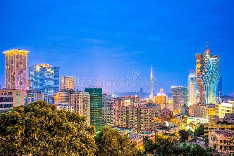 paysage urbain du Macao la nuit photo libre de droits
