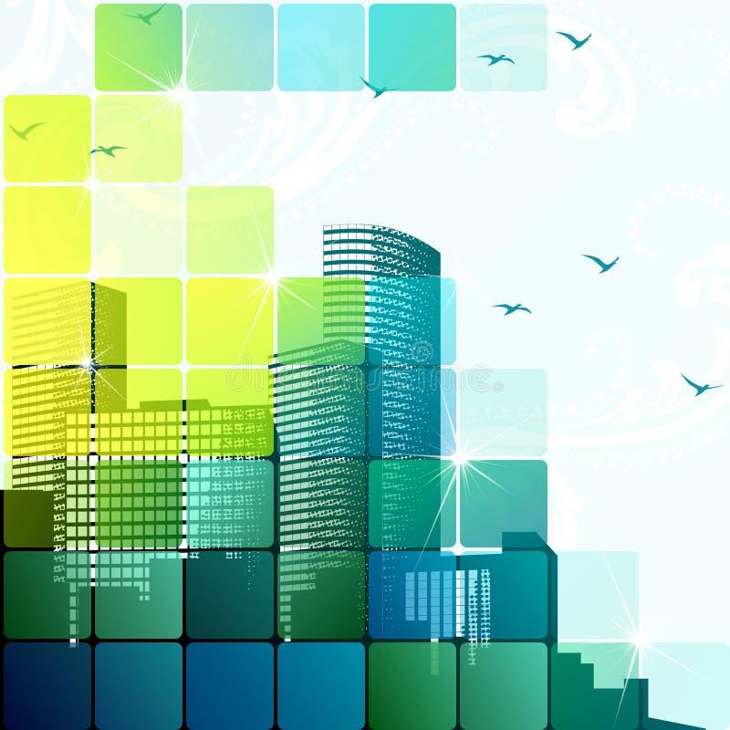 Paysage urbain dynamique en vert illustration libre de droits
