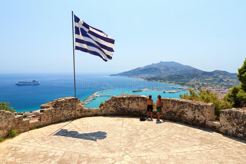 Paysage urbain et drapeau Zante photos libres de droits