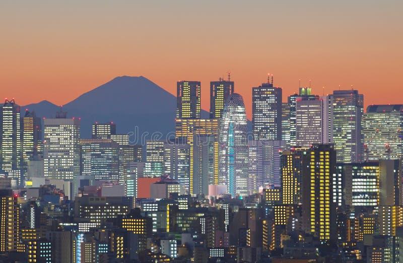 Paysage urbain et montagne Fuji de Tokyo image libre de droits