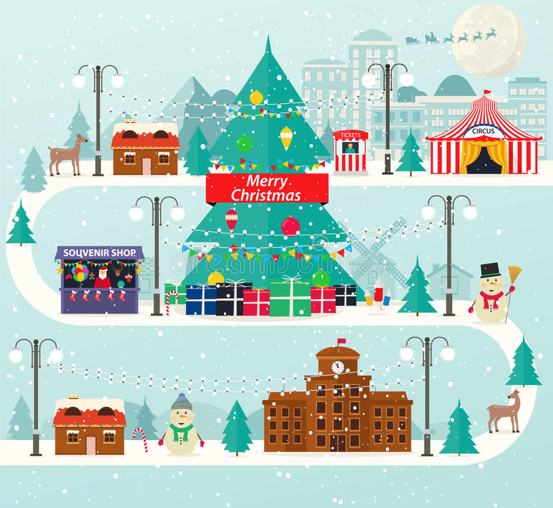 Paysage urbain et rural de Noël dans la conception plate La vie d'hiver de ville avec les icônes modernes des bâtiments urbains e illustration libre de droits