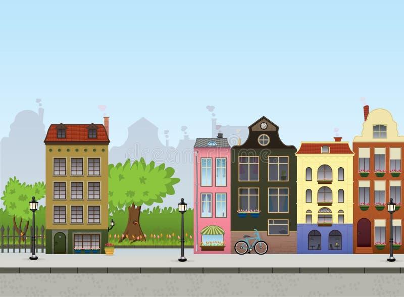Paysage urbain européen illustration de vecteur