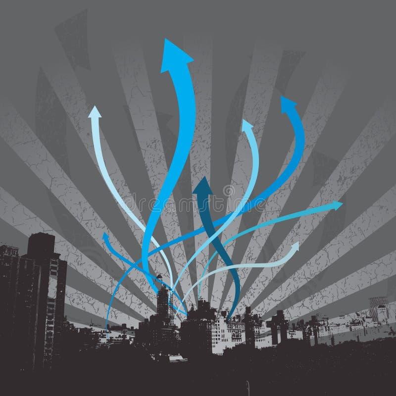 Paysage urbain, flèches éclatantes photographie stock libre de droits