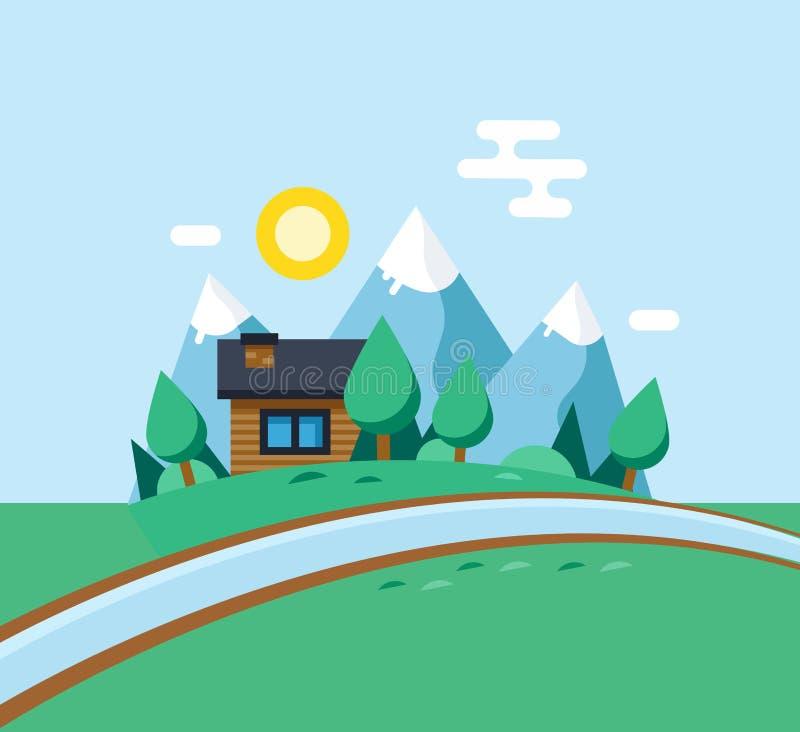 Paysage urbain, la vie de ville écologique Nettoyez l'écologie, environnement illustration stock