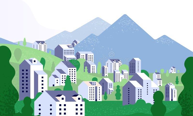 Paysage urbain minimal Paysage de nature avec les bâtiments modernes Rue de ville dans l'environnement d'été Fond de vecteur deda illustration libre de droits