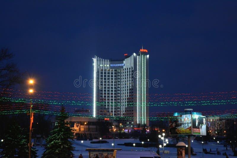 Paysage urbain Minsk Belarus de vue de nuit d'hiver images stock
