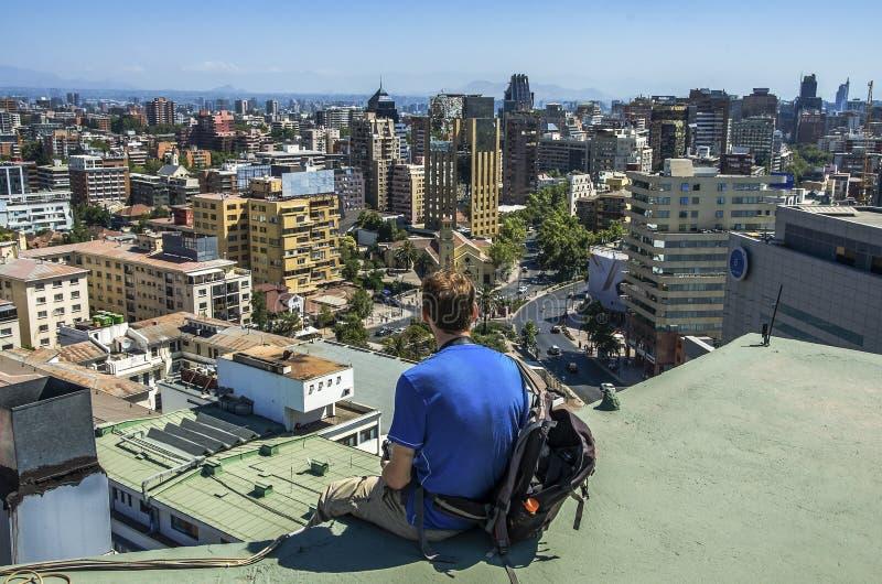 Paysage urbain moderne de Santiago de Chile photographie stock