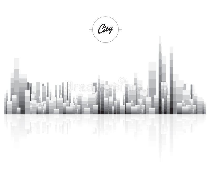Paysage urbain noir et blanc avec polygone de bloc de pixel le bas illustration stock