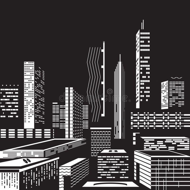 Paysage urbain par nuit illustration stock