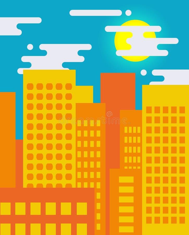 Paysage urbain plat de style un jour ensoleillé, la grande vie de ville illustration libre de droits
