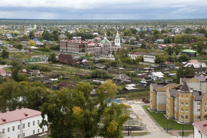 Paysage urbain regardant au-dessus de la vieille ville du Kremlin image libre de droits