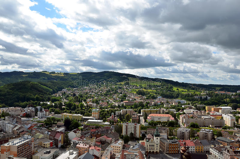 Paysage urbain scénique de ville de Nachod dans la photographie de République Tchèque photos libres de droits