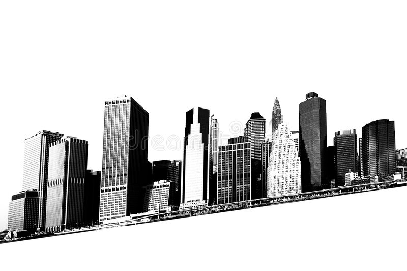 Paysage urbain - silhouettes des gratte-ciel illustration stock